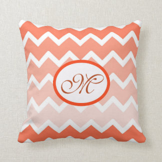 Personalized Monogram Coral Ombre Chevron Pillow