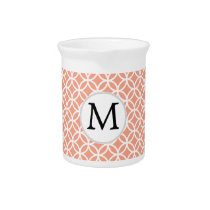 Personalized Monogram Coral rings pattern Beverage Pitcher
