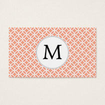 Personalized Monogram Coral rings pattern Business Card