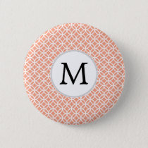 Personalized Monogram Coral rings pattern Button