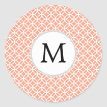 Personalized Monogram Coral rings pattern Classic Round Sticker