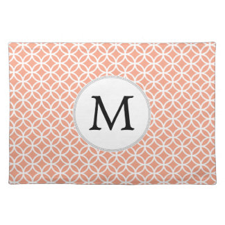 Personalized Monogram Coral rings pattern Cloth Placemat