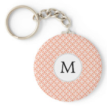 Personalized Monogram Coral rings pattern Keychain
