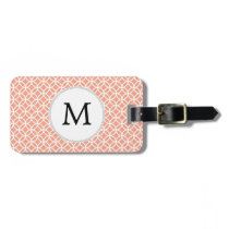 Personalized Monogram Coral rings pattern Luggage Tag