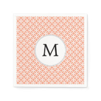 Personalized Monogram Coral rings pattern Paper Napkin