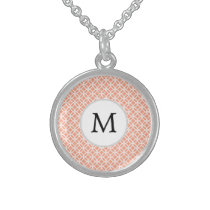 Personalized Monogram Coral rings pattern Sterling Silver Necklace
