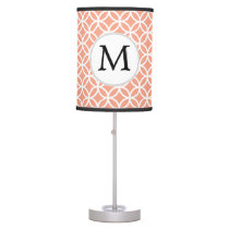 Personalized Monogram Coral rings pattern Table Lamp