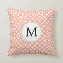 Personalized Monogram Coral rings pattern Throw Pillow