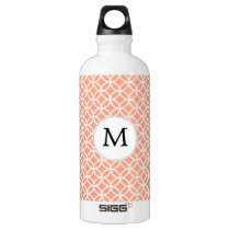 Personalized Monogram Coral rings pattern Water Bottle