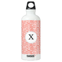 Personalized Monogram Coral Zebra Stripes pattern Aluminum Water Bottle