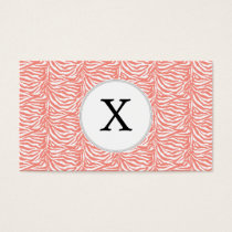 Personalized Monogram Coral Zebra Stripes pattern Business Card