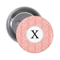 Personalized Monogram Coral Zebra Stripes pattern Button