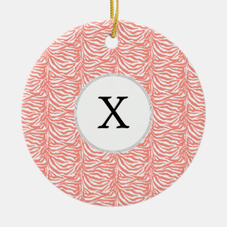 Personalized Monogram Coral Zebra Stripes pattern Ceramic Ornament