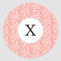 Personalized Monogram Coral Zebra Stripes pattern Classic Round Sticker