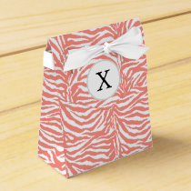 Personalized Monogram Coral Zebra Stripes pattern Favor Box