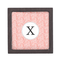 Personalized Monogram Coral Zebra Stripes pattern Gift Box