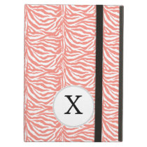 Personalized Monogram Coral Zebra Stripes pattern iPad Air Covers