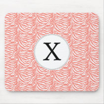 Personalized Monogram Coral Zebra Stripes pattern Mouse Pad