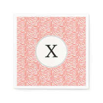 Personalized Monogram Coral Zebra Stripes pattern Paper Napkin