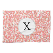 Personalized Monogram Coral Zebra Stripes pattern Towel