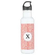 Personalized Monogram Coral Zebra Stripes pattern Water Bottle