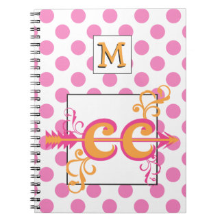 Personalized Monogram Cross Country Pink Spiral Notebook