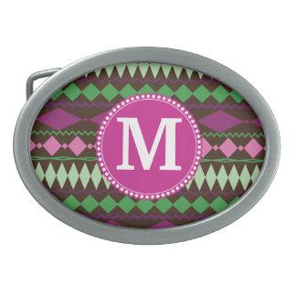 Personalized Monogram Custom Tribal Pattern Belt Buckle