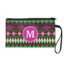 Personalized Monogram Custom Tribal Pattern Wristlet Purse