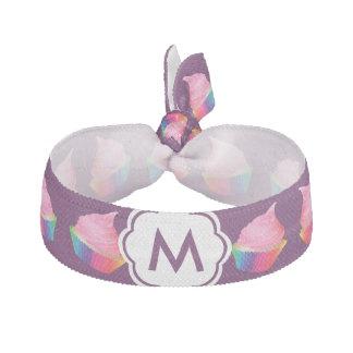 Personalized Monogram Cute Pink Rainbow Cupcakes Ribbon Hair Ties