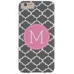 Personalized monogram Dark Gray Quatrefoil Barely There iPhone 6 Plus Case