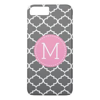 Personalized monogram Dark Gray Quatrefoil iPhone 8 Plus/7 Plus Case