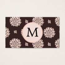 Personalized Monogram Ebony Coral Floral Pattern Business Card