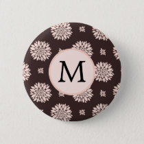 Personalized Monogram Ebony Coral Floral Pattern Button