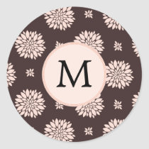 Personalized Monogram Ebony Coral Floral Pattern Classic Round Sticker