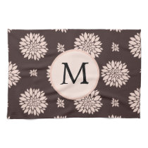 Personalized Monogram Ebony Coral Floral Pattern Hand Towel