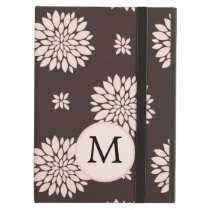 Personalized Monogram Ebony Coral Floral Pattern iPad Air Case