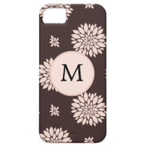 Personalized Monogram Ebony Coral Floral Pattern iPhone SE/5/5s Case