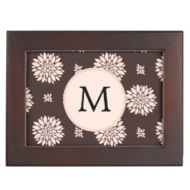 Personalized Monogram Ebony Coral Floral Pattern Keepsake Box