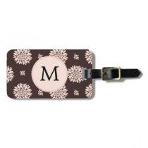 Personalized Monogram Ebony Coral Floral Pattern Luggage Tag
