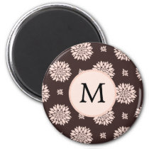 Personalized Monogram Ebony Coral Floral Pattern Magnet