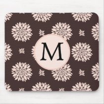Personalized Monogram Ebony Coral Floral Pattern Mouse Pad