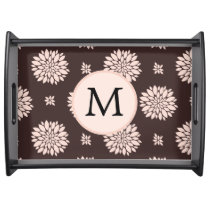 Personalized Monogram Ebony Coral Floral Pattern Serving Tray