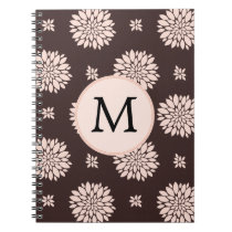 Personalized Monogram Ebony Coral Floral Pattern Spiral Notebook