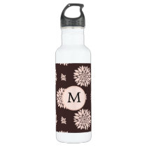 Personalized Monogram Ebony Coral Floral Pattern Stainless Steel Water Bottle