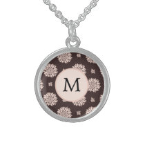 Personalized Monogram Ebony Coral Floral Pattern Sterling Silver Necklace