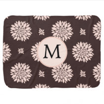 Personalized Monogram Ebony Coral Floral Pattern Swaddle Blanket