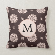 Personalized Monogram Ebony Coral Floral Pattern Throw Pillow