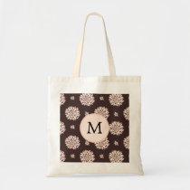 Personalized Monogram Ebony Coral Floral Pattern Tote Bag