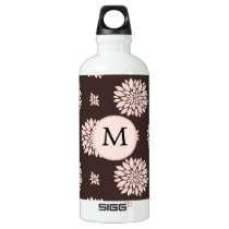 Personalized Monogram Ebony Coral Floral Pattern Water Bottle