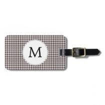 Personalized Monogram Ebony Houndstooth Pattern Bag Tag